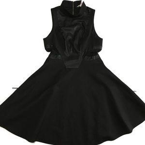 BCBGeneration Faux Leather Mesh Side Cutout Dress
